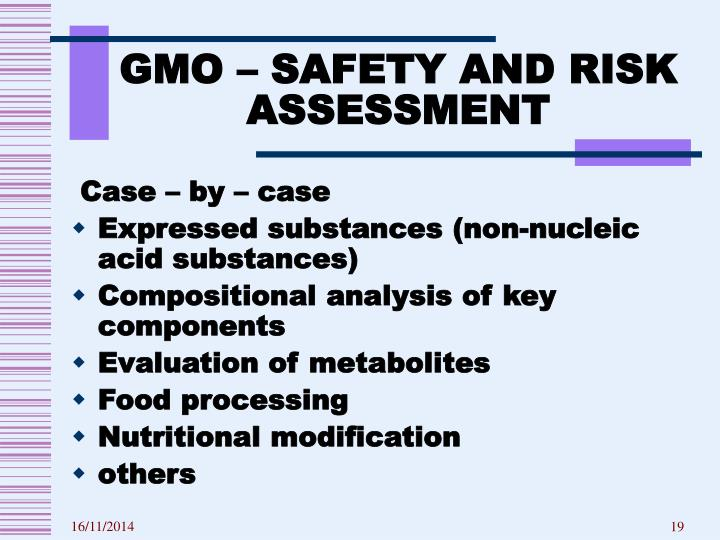 GMO – SAFETY AND RISK ASSESSMENT