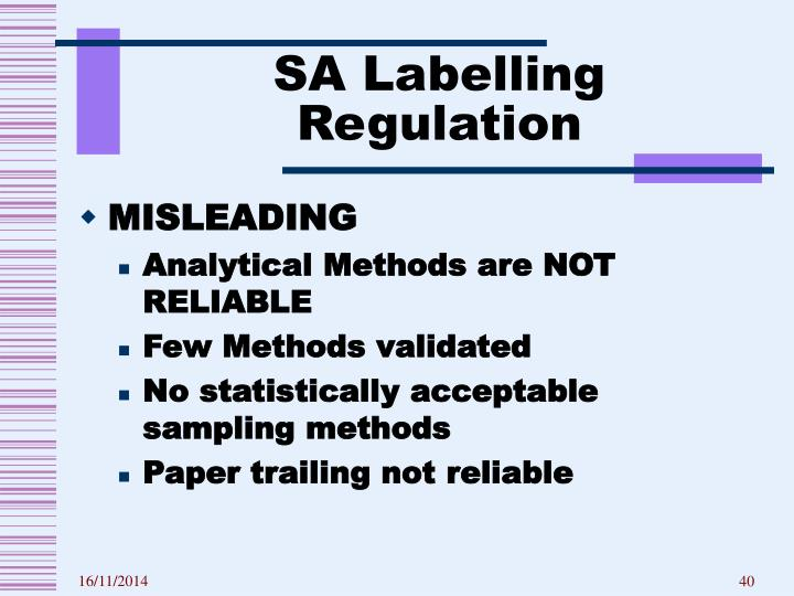 SA Labelling Regulation