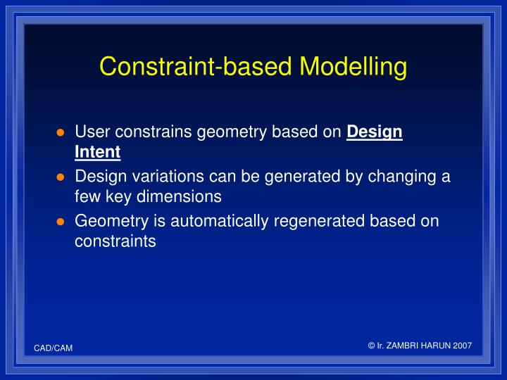 Constraint based modelling