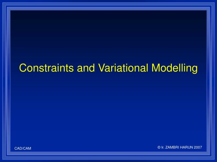 Constraints and Variational Modelling