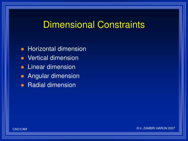 Dimensional Constraints