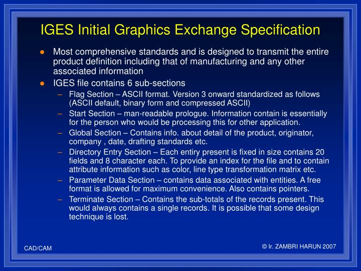 IGES Initial Graphics Exchange Specification