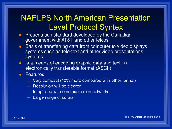 NAPLPS North American Presentation Level Protocol Syntex