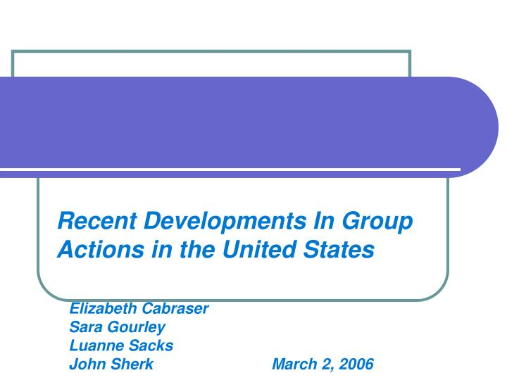 Recent developments in group actions in the united states
