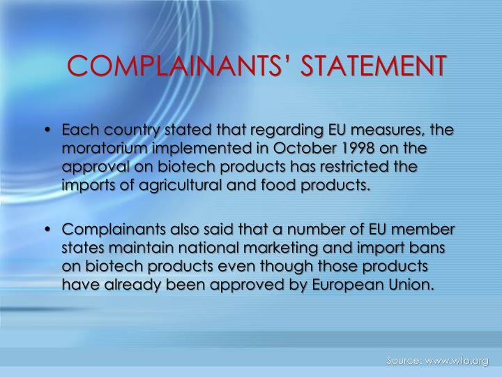 COMPLAINANTS' STATEMENT