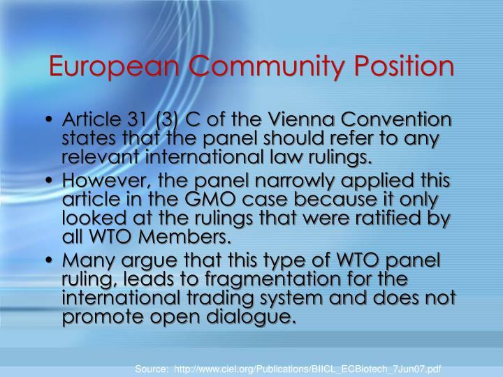 European Community Position