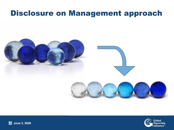 Disclosure on Management approach