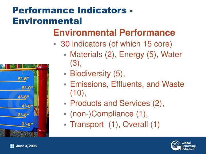 Performance Indicators -Environmental