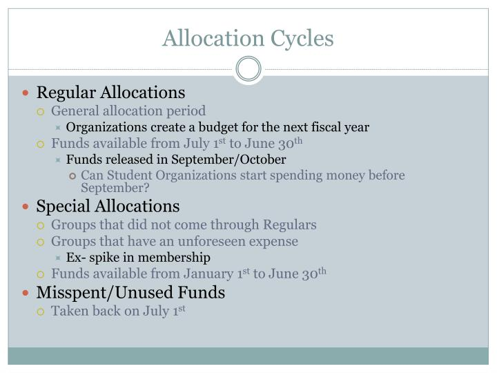 Allocation cycles