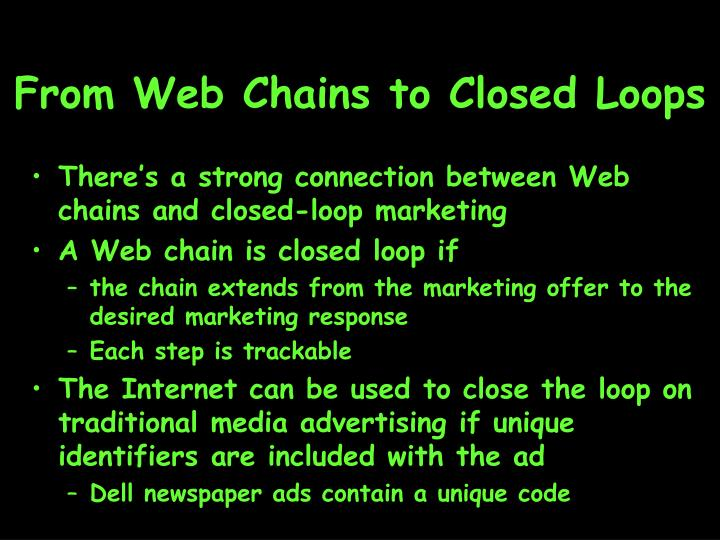 From Web Chains to Closed Loops