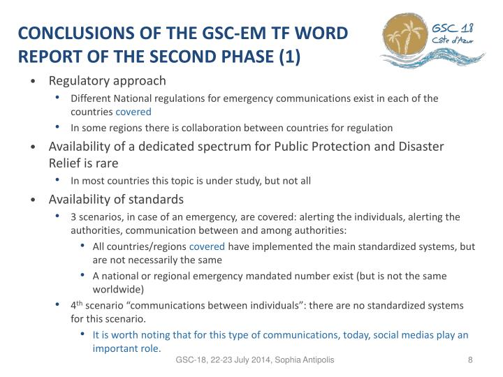 CONCLUSIONS OF THE GSC-EM TF WORD REPORT OF THE SECOND PHASE (1)
