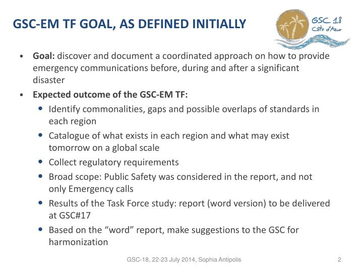 Gsc em tf goal as defined initially