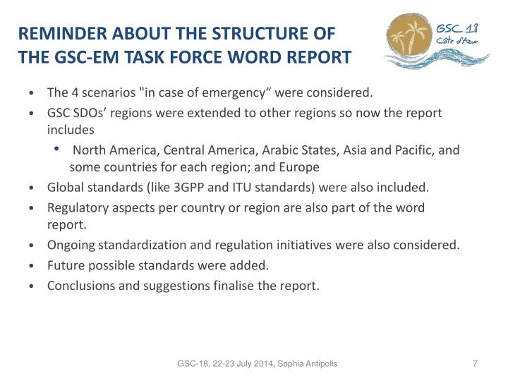 REMINDER ABOUT THE STRUCTURE OF THE GSC-EM TASK FORCE WORD REPORT