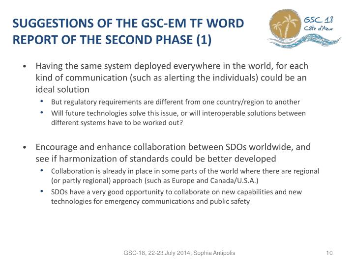 Suggestions OF THE GSC-EM TF WORD REPORT OF THE SECOND PHASE (1)
