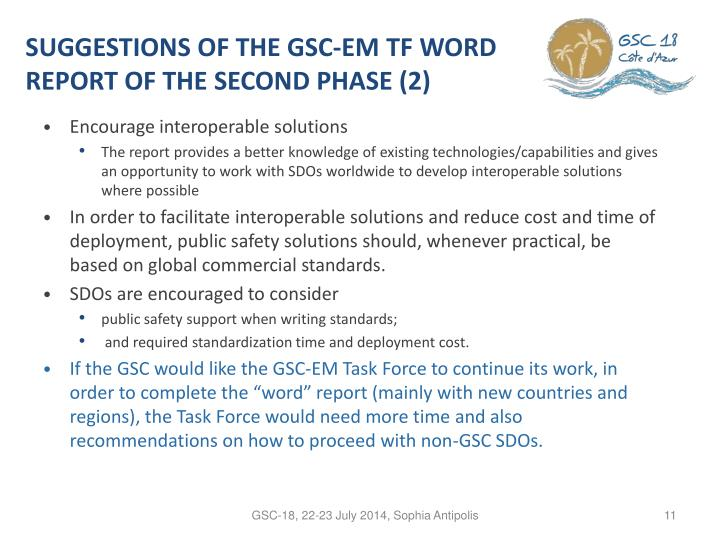 SUGGESTIONS OF THE GSC-EM TF WORD REPORT OF THE SECOND PHASE (2)