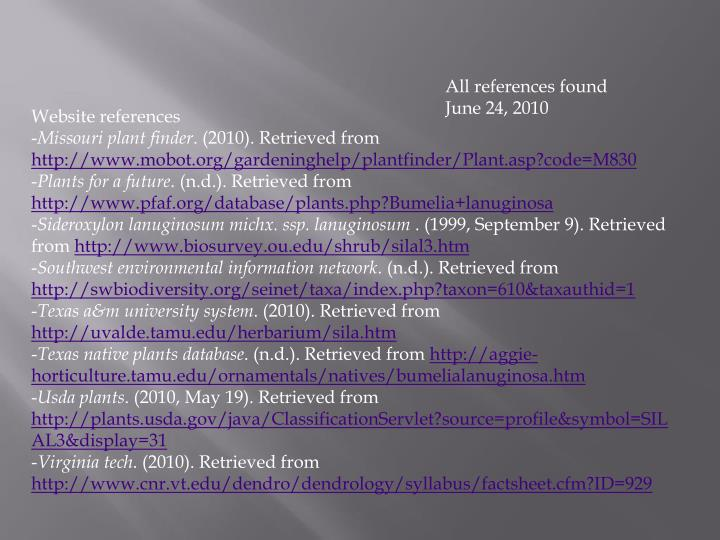 All references found June 24, 2010