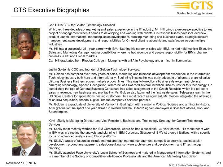 GTS Executive Biographies