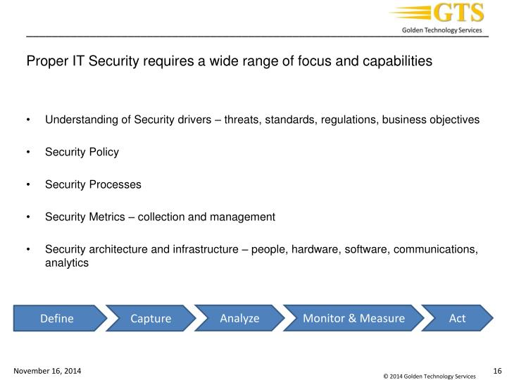 Proper IT Security requires a wide range of focus and capabilities