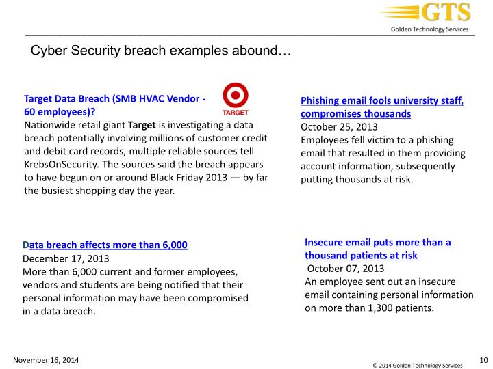 Cyber Security breach examples abound…