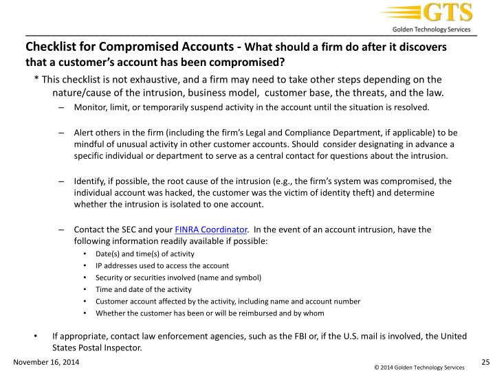 Checklist for Compromised Accounts -