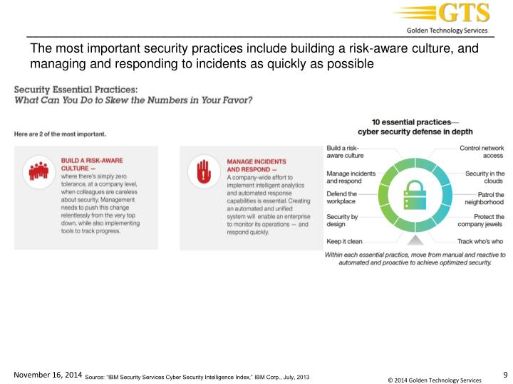The most important security practices include building a risk-aware culture, and managing and responding to incidents as quickly as possible