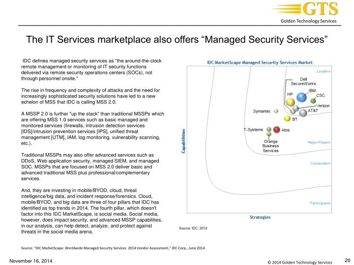 "The IT Services marketplace also offers ""Managed Security Services"""