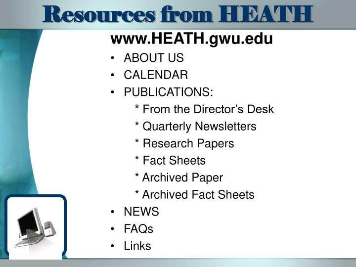 Resources from HEATH