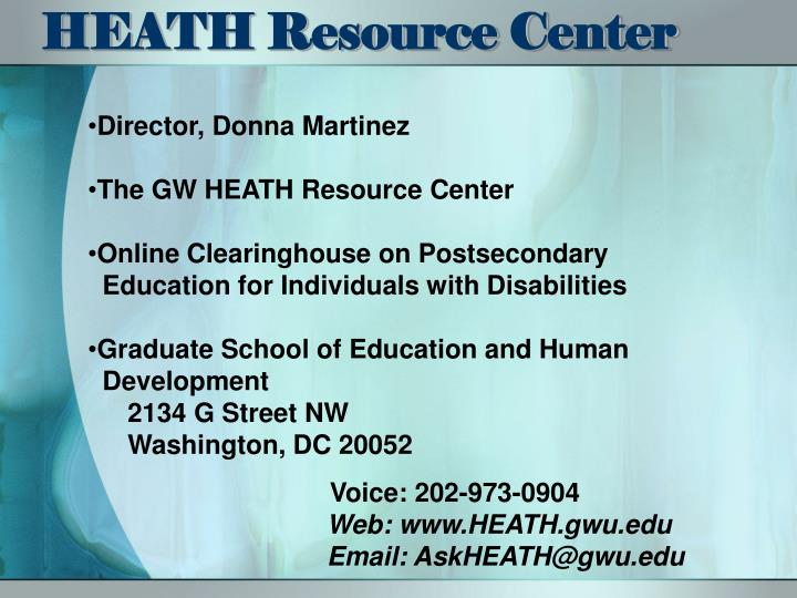 HEATH Resource Center