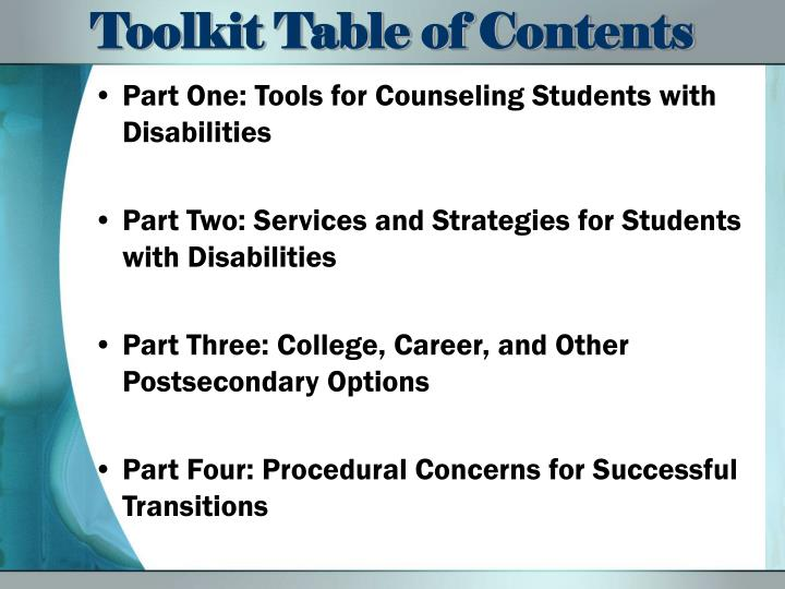 Part One: Tools for Counseling Students with Disabilities