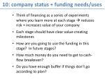 10 company status funding needs uses