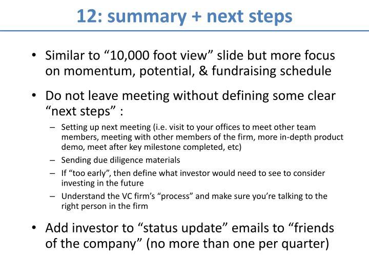 12: summary + next steps