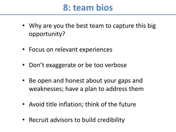 8: team bios
