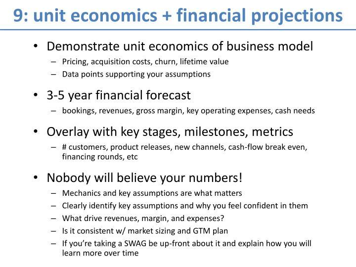 9: unit economics + financial projections