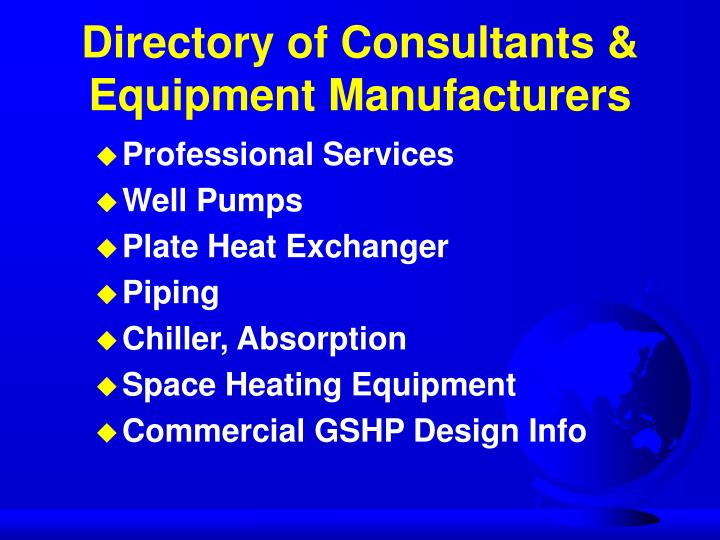Directory of Consultants & Equipment Manufacturers
