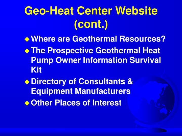 Geo-Heat Center Website (cont.)
