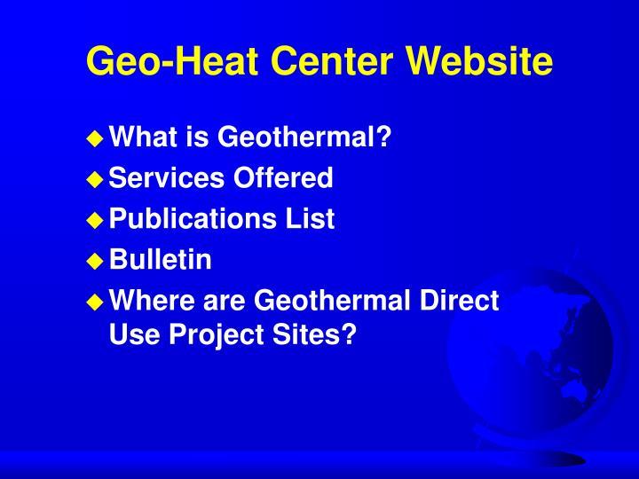 Geo-Heat Center Website