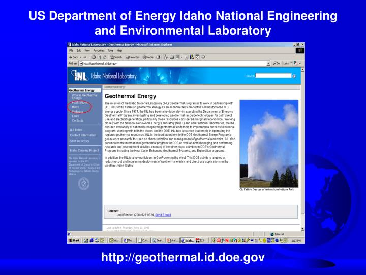 US Department of Energy Idaho National Engineering and Environmental Laboratory
