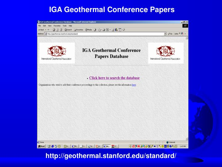 IGA Geothermal Conference Papers