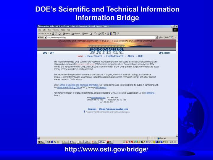 DOE's Scientific and Technical Information Information Bridge