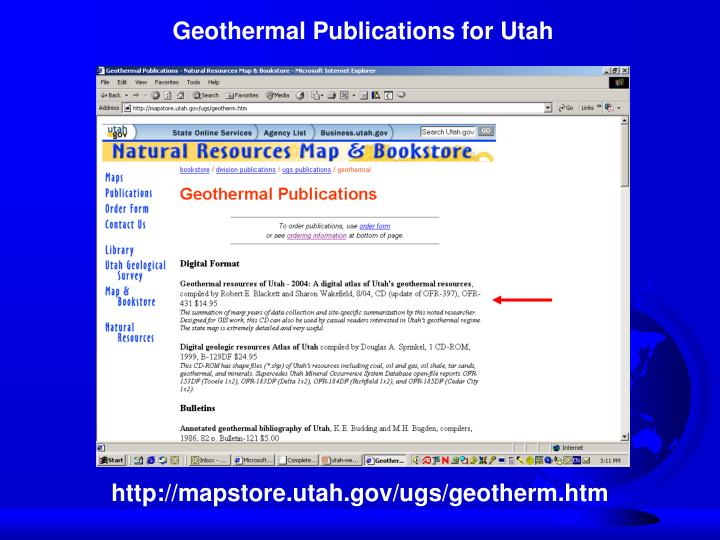 Geothermal Publications for Utah