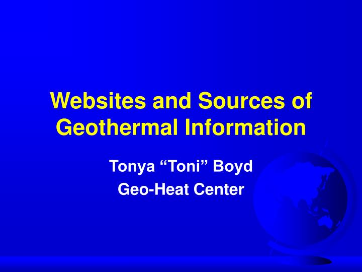 Websites and sources of geothermal information