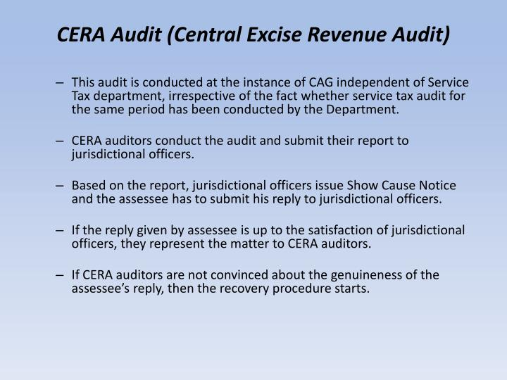 CERA Audit (Central Excise Revenue Audit)