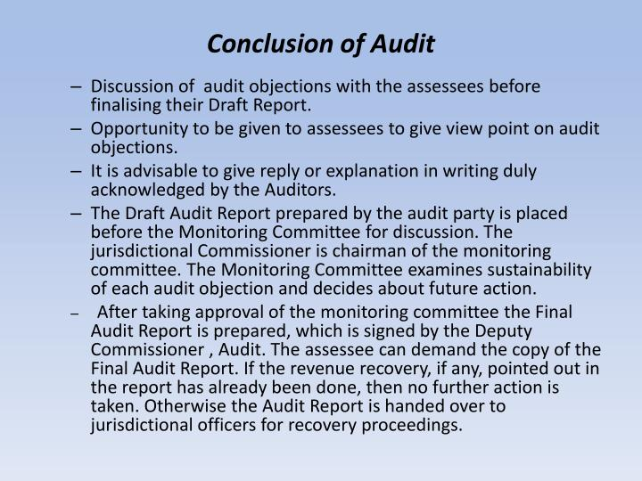 Conclusion of Audit
