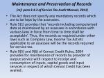 maintenance and preservation of records ref para 3 4 3 of service tax audit manual 2011