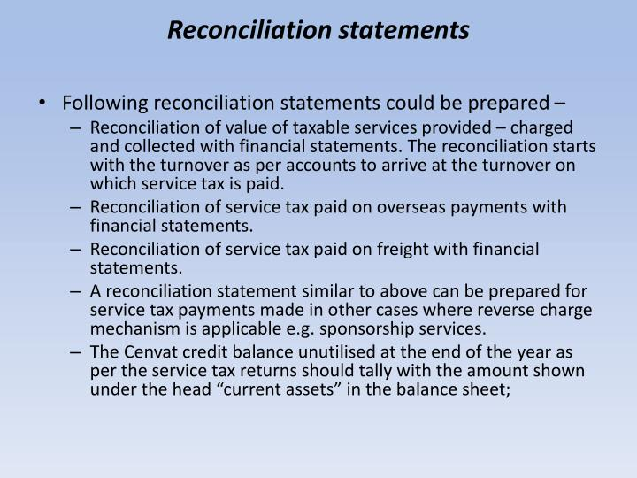 Reconciliation statements