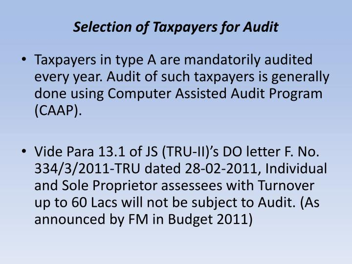 Selection of Taxpayers for Audit