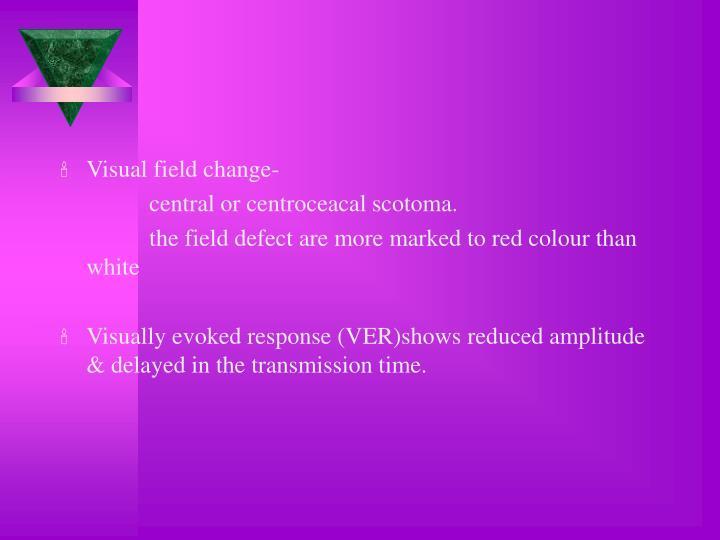 Visual field change-