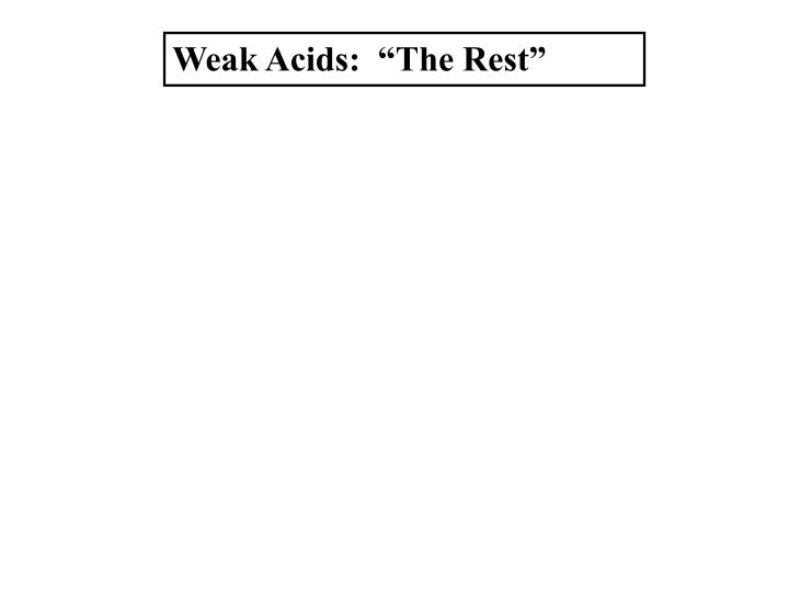 "Weak Acids:  ""The Rest"""
