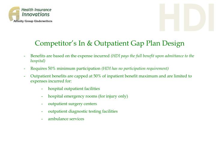 Competitor's In & Outpatient Gap Plan Design