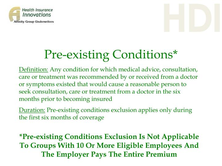 Pre-existing Conditions*